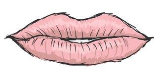 Lips of woman. Hand drawn, sketch, cartoon illustration of lips Stock Photos