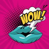 Lips wow pop art. Icon vector illustration graphic design Stock Image