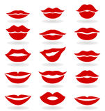 Lips6. Set red the girl of lips. A vector illustration Stock Photos