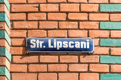 Lipscani Historical Street Sign In Bucharest Royalty Free Stock Photo