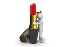 Lipstick. 3d characters isolated on white background series Royalty Free Stock Image