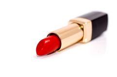 Lipstick. Red lipstick close-up shallow depth of field royalty free stock photo