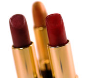 Lipstick 2. 3 Tubes Of Lipstick on White royalty free stock photography