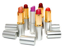 Lipstick. Six lipstick is photographed on a white background Royalty Free Stock Photos