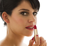 Lipstick application Stock Images