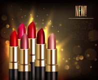 Lipstick Assortment Background. With glossy sparkling colors realistic vector illustration Stock Photo