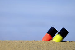 Lipstick on the beach Stock Image