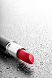 Lipstick closeup water drops Royalty Free Stock Image