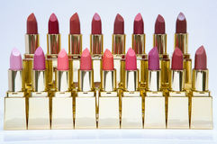 Lipstick color display. A display of lipsticks on the makeup counter Royalty Free Stock Photography