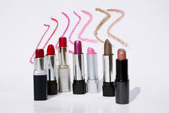 Lipstick colors. Different tubes of lipstick shades Stock Photography