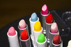Lipstick colors. Close-up shot of lipsticks of assorted colors stock photo