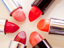 Lipstick colours. A still-life of some colorful lipstick royalty free stock image
