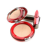 Lipstick and compact powder Stock Image