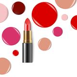 Lipstick. Cosmetics. Makeup. Realistic 3d mock-up of cosmetics. Cosmetics. Makeup. Lipstick. Realistic 3d mock-up of cosmetics. Red lipstick. Vector Stock Photo