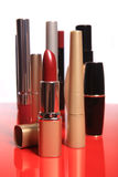 Cosmetics set on the red Royalty Free Stock Photos