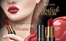 Lipstick couture ad. With half model face and red liquid flow, 3d illustration Stock Photography