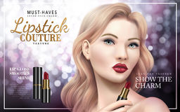 Lipstick couture ad. With model face, bokeh background 3d illustration Stock Image