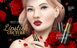 Lipstick couture ad. With model face and red rose flowers, 3d illustration Stock Photos