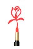 Lipstick & drawen rose Royalty Free Stock Photography