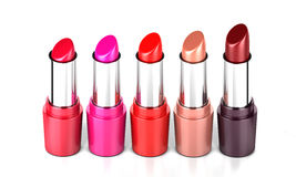 Lipstick in every shade standing in a row Royalty Free Stock Photos