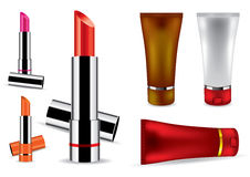 Lipstick and face cream Royalty Free Stock Photography