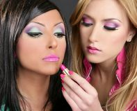 Lipstick fashion girls barbie doll makeup Royalty Free Stock Photography