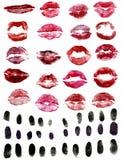 Lipstick and fingerprints Royalty Free Stock Photos