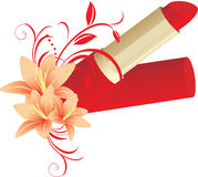Lipstick and floral ornament with lilies Stock Image