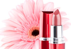 Lipstick with flower stock image
