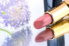 Lipstick and flower Stock Photo