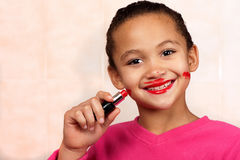 Lipstick girl Royalty Free Stock Photography