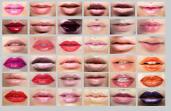 Lipstick. Great Variety of Womens Lips. Set of Col Stock Images