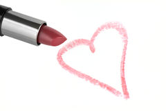 Lipstick and heart Stock Photos