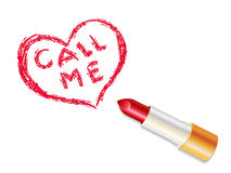 Lipstick. Heart and call me illustration Royalty Free Stock Images