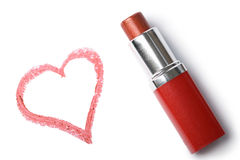 Lipstick and heart isolated Royalty Free Stock Photos