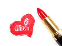 Lipstick and Heart Royalty Free Stock Images