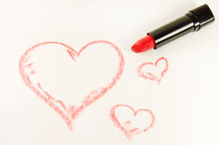 Lipstick and heart Royalty Free Stock Photos