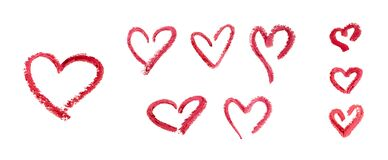 Lipstick hearts set icon, decoration design. Red Hand drawing Love shape. Holiday element collection. Valentine day
