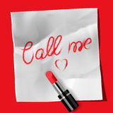 Lipstick and inscription Call me� Stock Images