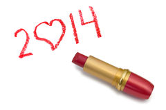 Lipstick and 2014 Royalty Free Stock Photos