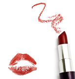 Lipstick and kiss Stock Images