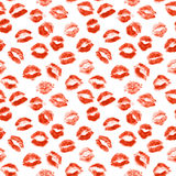 Lipstick kiss. Isolated on white background. Set. Seamless Royalty Free Stock Photo