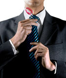 Lipstick kiss on collar Royalty Free Stock Photography