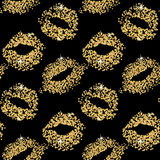 Lipstick kiss glitter seamless background. Gold particles texture, shiny glamour effect. Stock Images
