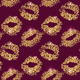 Lipstick kiss glitter seamless background. Gold particles texture, shiny glamour effect. Royalty Free Stock Photos