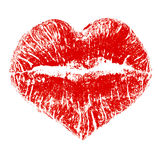 Lipstick kiss in heart shape Stock Images