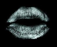 Lipstick kiss isolated on black. White lips imprint isolated on black background Stock Image