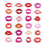 Lipstick kiss isolated on white, lips set, design element. Stock Images