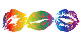 Lipstick kiss print. The Colorful lipstick kiss prints Stock Photography