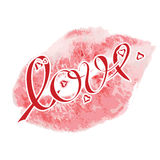 Lipstick kiss signs,with lettering  love and red small hearts. Vector realistic lipstick kiss Stock Images